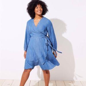 NWT LOFT Plus Chambray Ruffle Wrap Dress Blue 26
